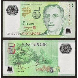 Singapore 5 Dollars, 1 Triangle, 2014, P-47d, Polymer, UNC