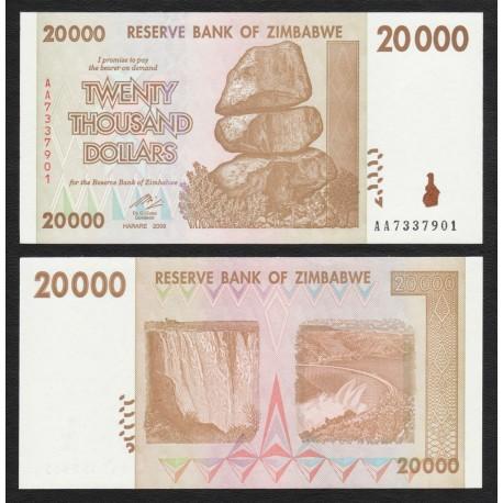 Zimbabwe 20,000 Dollars, 2008, P-73, UNC