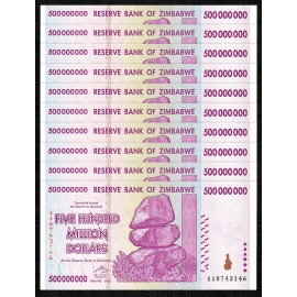 Zimbabwe 500 Million Dollars X 10 PCS, P-82, 2008, UNC