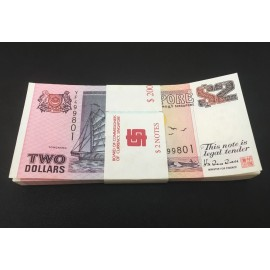 Singapore 2 Dollars X 100 PCS, Full Bundle, 1997, P-34, UNC
