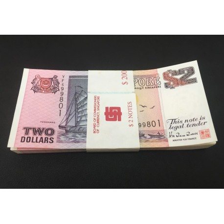 Singapore 2 Dollars X 100 PCS, Full Bundle, 1997, P-34, UNC