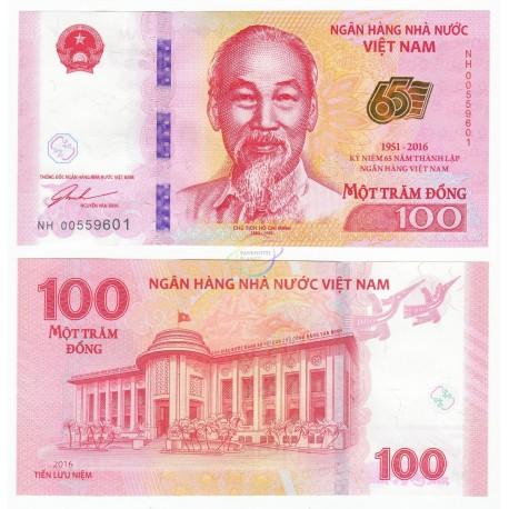 Vietnam 100 Dong, Commemorative, 2016, P-125, UNC