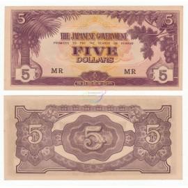 Malaya 5 Dollars, 1942, P-M6c, AU-UNC