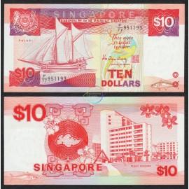 Singapore 10 Dollars, 1988, P-20, UNC