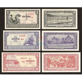 South Vietnam 1, 2, 5 Dong Set, 1955, P-11, 12, 13, UNC
