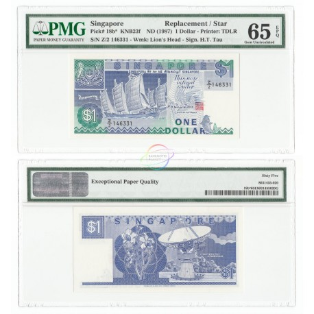 Singapore 1 Dollar, Z/2 Replacement, Sign HTT, 1987, P-18b, PMG 65 EPQ UNC