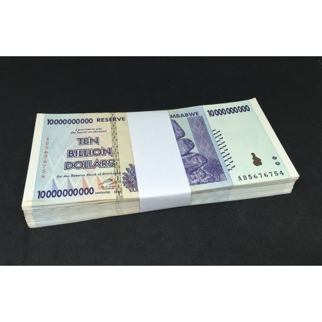 Zimbabwe 10 Billion Dollars X 100 PCS, Full Bundle, P-85, 2008, XF-AU
