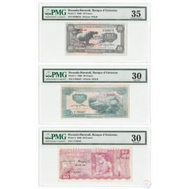 Rwanda-Burundi 10, 20, 50 Francs Set 3 PCS, 1960, P-2, 3, 4, PMG 30 35 VF