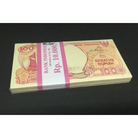 Indonesia 100 Rupiah X 100 PCS, Full Bundle, 1992, P-127, UNC