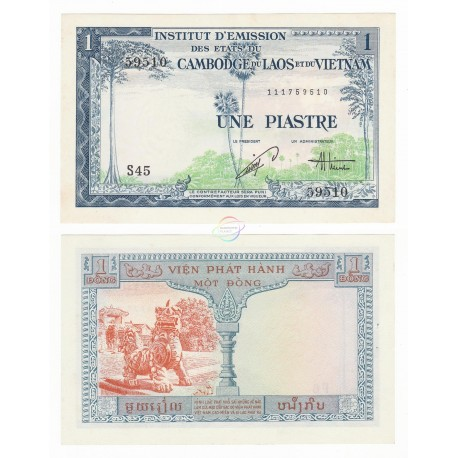 French Indo-China 1 Piastre, 1 Dong, 1954, P-105, AUNC