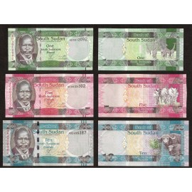 South Sudan 1, 5, 10 Pounds Set 3 PCS, 2011, P-5, 6, 7, UNC