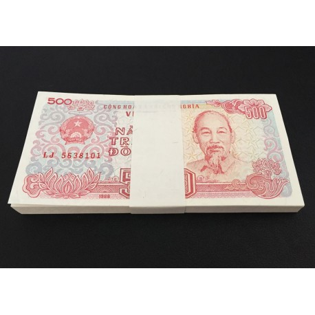 Vietnam 500 Dong X 100 PCS, Full Bundle, 1988, P-101, UNC