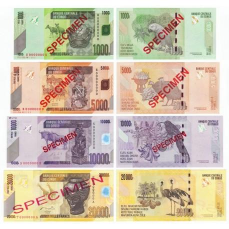 Congo D.R. 1000, 5000, 10000, 20000 Francs Set, Specimen, 2006-13, P-101s, 102s, 103s, 104s, UNC