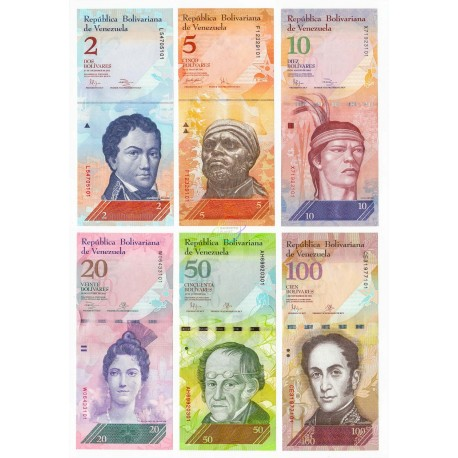 Venezuela 2, 5, 10, 20, 50, 100 Bolivares Set 6 PCS, P-88-93, 2007-15, UNC