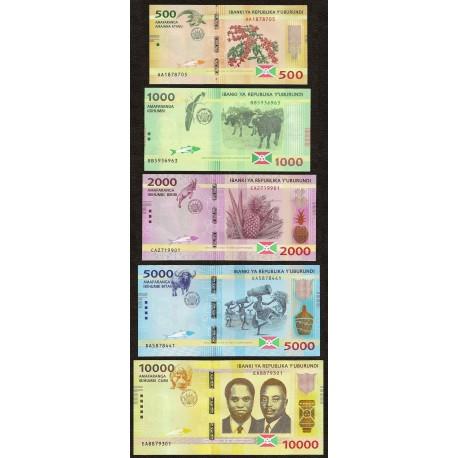 Burundi 500, 1000, 2000, 5000, 10000 Francs Set, 2015, P-50, 51, 52, 53, 54, UNC