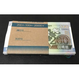 Korea 200 Won X 100 PCS, Full Bundle, 2005, P-48, UNC
