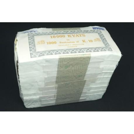 Myanmar 10 Kyats X 1000 PCS, Full Brick, 1997, P-71, UNC