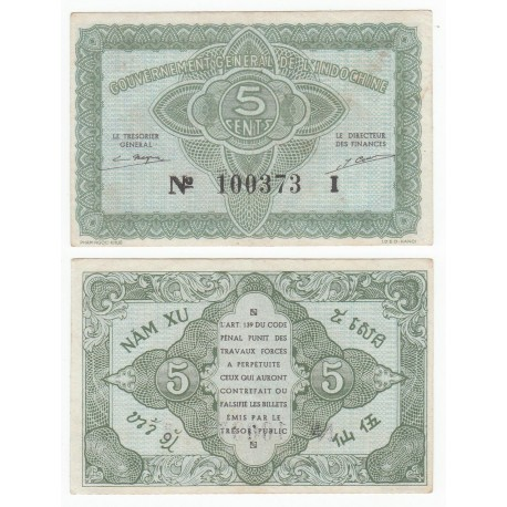 French Indo-China 5 Cents, 1942, P-88a, AU