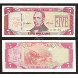 Liberia 5 Dollars, 1999, P-21, UNC