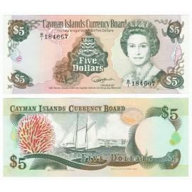 Cayman Islands 5 Dollars, QE II, 1991, P-12, UNC