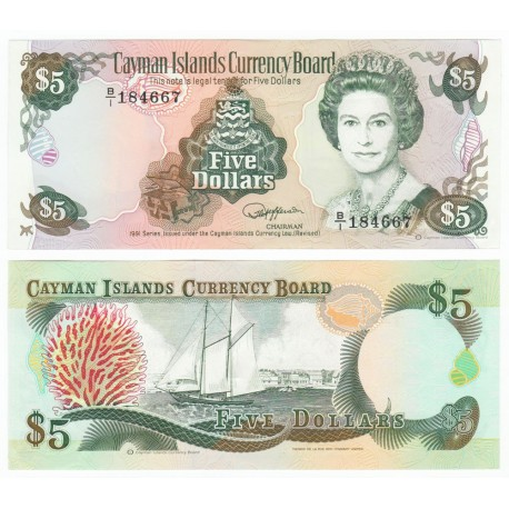 Cayman Islands 5 Dollars, QE II, 1991, P-12, UNC