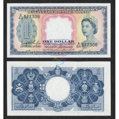 Malaya & British Borneo 1 Dollar, QE II, P-1, 1953, UNC