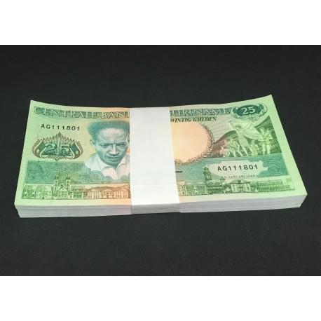 Suriname 25 Gulden X 100 PCS, Full Bundle, 1988, P-132, UNC