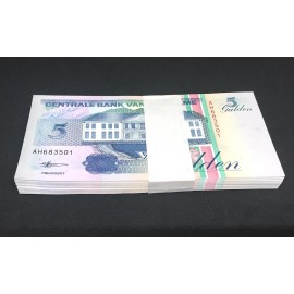 Suriname 5 Gulden X 100 PCS, Full Bundle, 1996, P-136, UNC