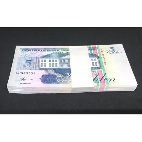 Suriname 5 Gulden X 100 PCS, Full Bundle, 1996, P-136, UNC