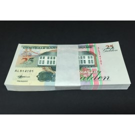Suriname 25 Gulden X 100 PCS, Full Bundle, 1998, P-138, UNC