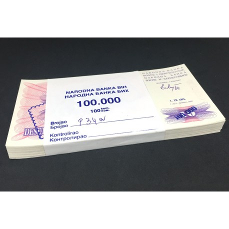 Bosnia-Herzegovina 100,000 Dinara X 100 PCS, Overprint, Full Bundle, 1993, P-34a, UNC