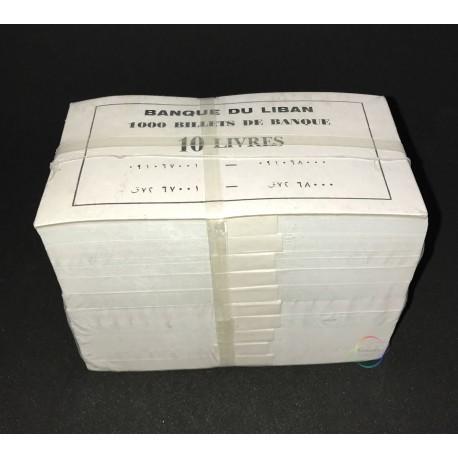 Lebanon 10 Livres X 1000 PCS, Full Brick, 1986, P-63f, UNC