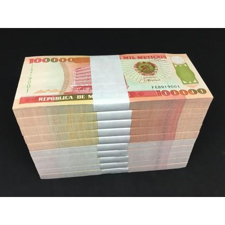 Mozambique 100,000 Meticais X 1000 PCS, Full Brick, 1993, P-139, UNC