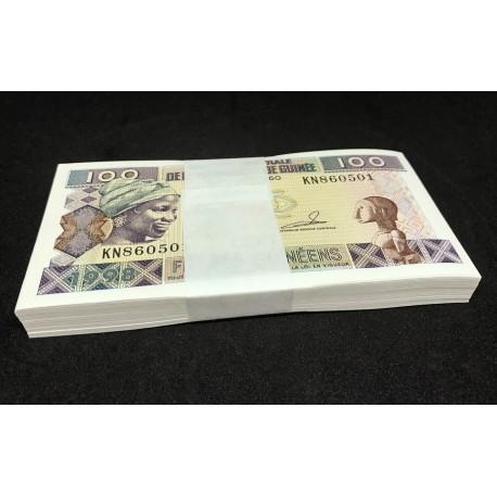 Guinea 100 Francs X 100 PCS, Full Bundle, 1998, P-35a, UNC