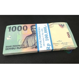 Indonesia 1000 Rupiah X 100 PCS, Full Bundle, 2013, P-141, UNC