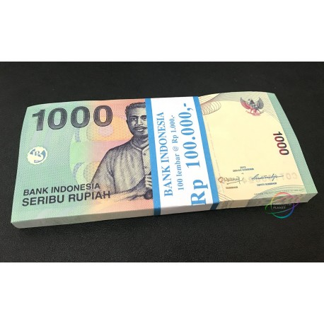Indonesia 1000 Rupiah X 100 PCS, Full Bundle, 2013-2016, P-141, UNC