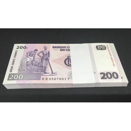 Congo D.R. 200 Francs X 100 PCS, Full Bundle, 2007, P-99, UNC