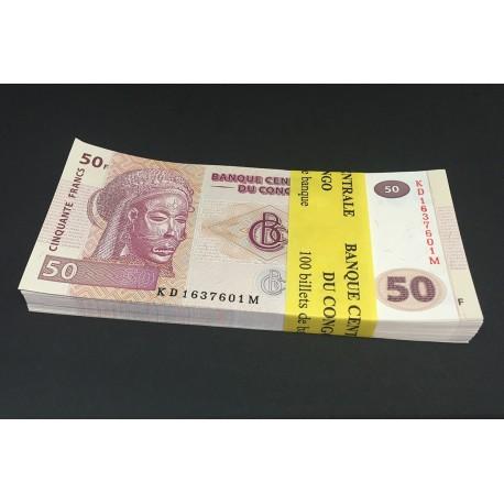 Congo D.R. 50 Francs X 100 PCS, Full Bundle, 2013, P-97, UNC
