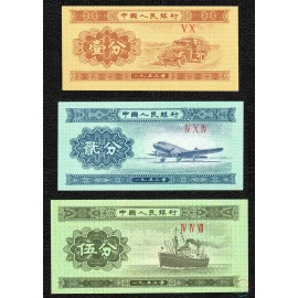 China 1, 2, 5 Fen Set, 1953, P-860, 861, 862, UNC