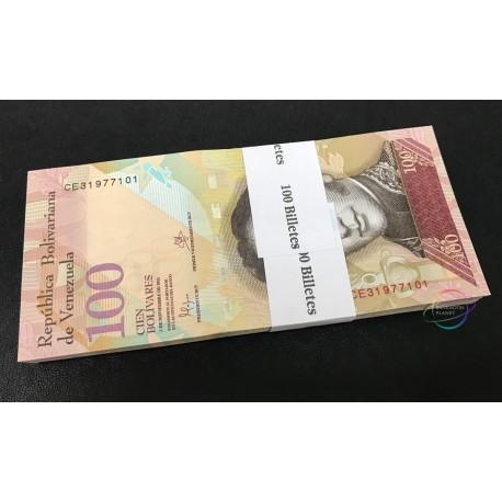 Venezuela 100 Bolivares X 100 PCS, Full Bundle, 2015, P-93, UNC