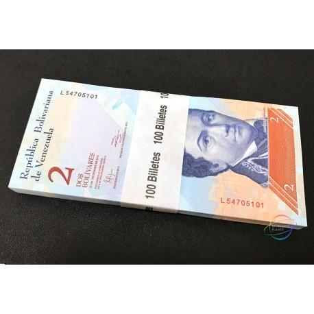 Venezuela 2 Bolivares X 100 PCS, Full Bundle, 2012, P-88, UNC