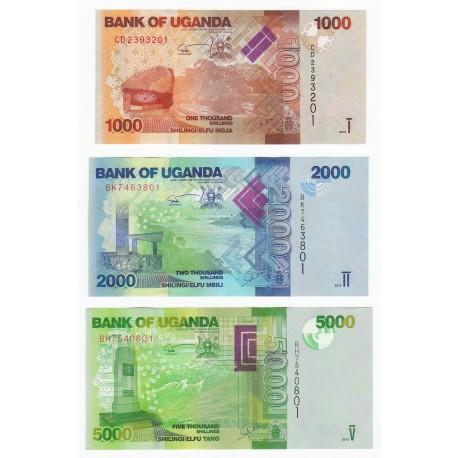 Uganda 1000, 2000, 5000 Shillings Set 3 PCS, 2015, P-49 50 51, UNC