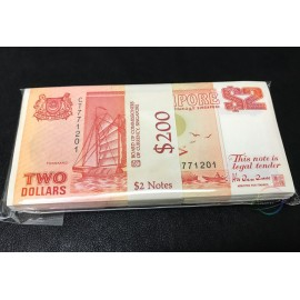 Singapore 2 Dollars X 100 PCS, Full Bundle, 1990, P-27, UNC