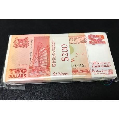 Singapore 2 Dollars X 100 PCS, Full Bundle, 1990, P-27, UNC