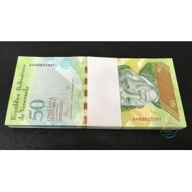 Venezuela 50 Bolivares X 100 PCS, Full Bundle, 2015, P-92, UNC