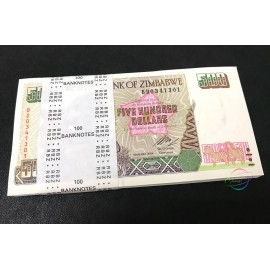 Zimbabwe 500 Dollars X 100 PCS, Full Bundle, 2004, P-11b, UNC
