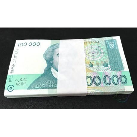 Croatia 100,000 Dinara X 100 PCS, Full Bundle, 1993, P-27, UNC