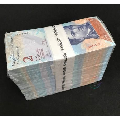 Venezuela 2 Bolivares X 1000 PCS, Full Brick, 2012, P-88, UNC