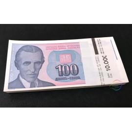 Yugoslavia 100 Dinara X 100 PCS, Full Bundle, 1994, P-139, UNC