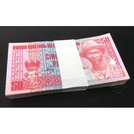 Guinea-Bissau 50 Pesos X 100 PCS, Full Bundle, 1990, P-10, UNC
